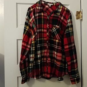 Maurices Plus Sz 2 Red Plaid Flannel